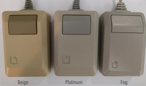 The three main branches of the M0100 family tree: beige, platinum and fog.